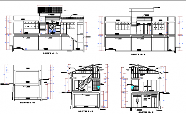 All sided elevation and sectional details of local community building dwg file