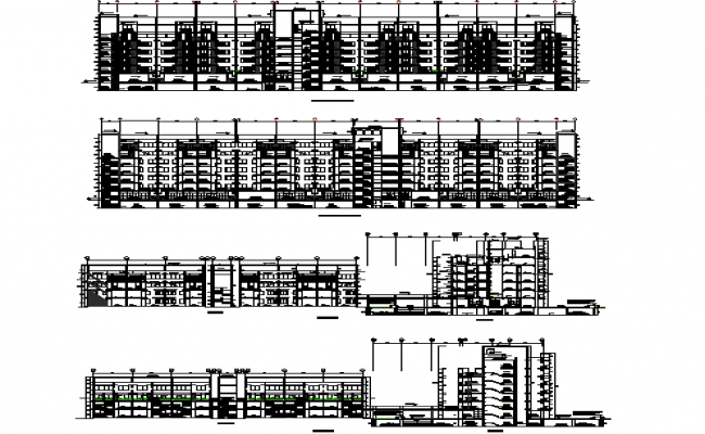 All sided elevation and sectional details of multi-family housing building dwg file