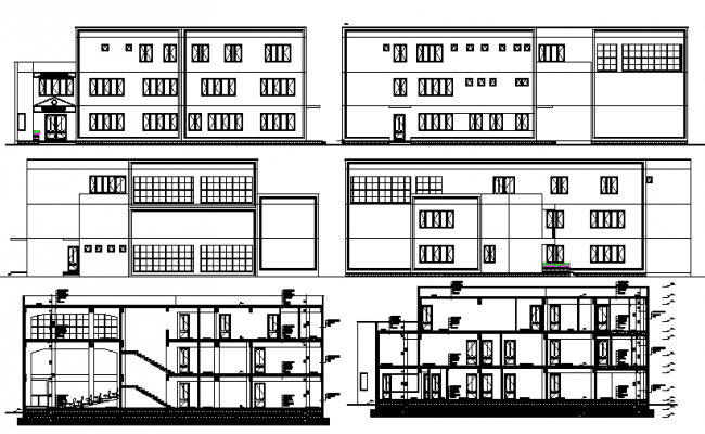 All sided elevation and sectional details of office building dwg file