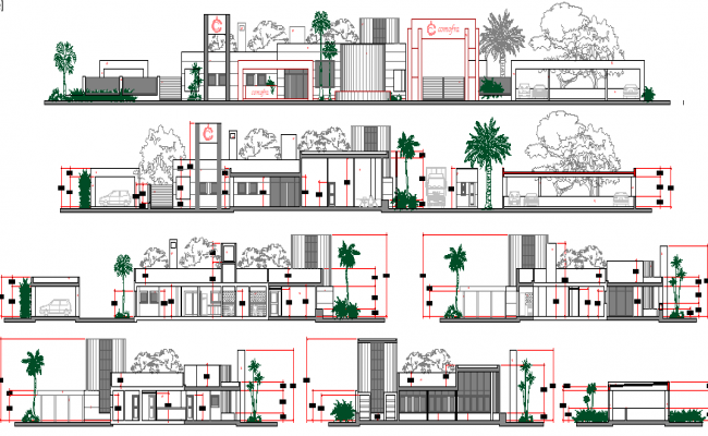 All sided elevation & sectional view of two flooring corporate office dwg file