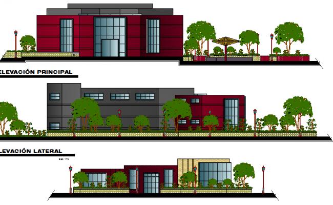 All sided elevation details of finance center building dwg file