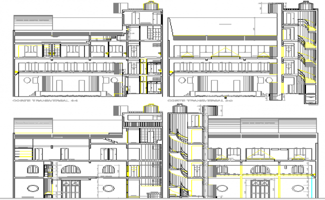All sided elevation details, multi-flooring administration building dwg file