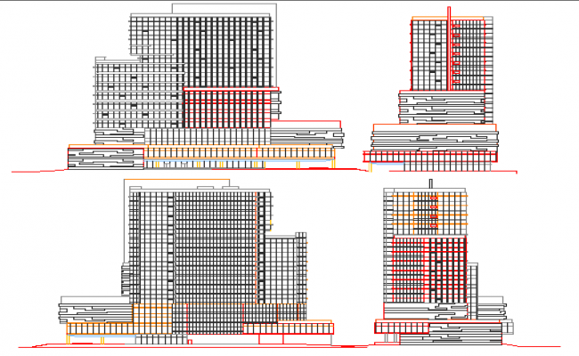 All sided elevation of corporate office building dwg file