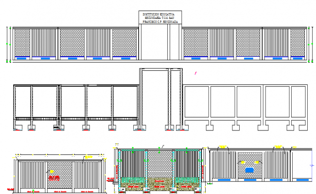All sided elevation of multi-flooring school dwg file