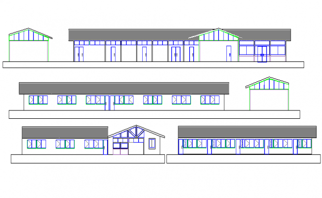All sided elevation of rural school project dwg file