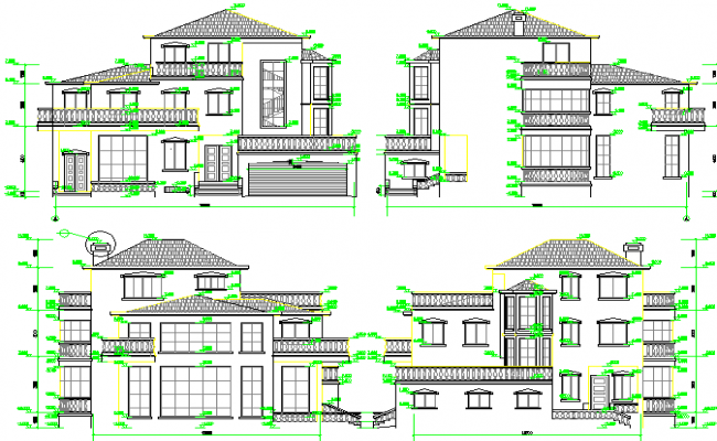 All sided elevation of two flooring multi-family bungalow design dwg file