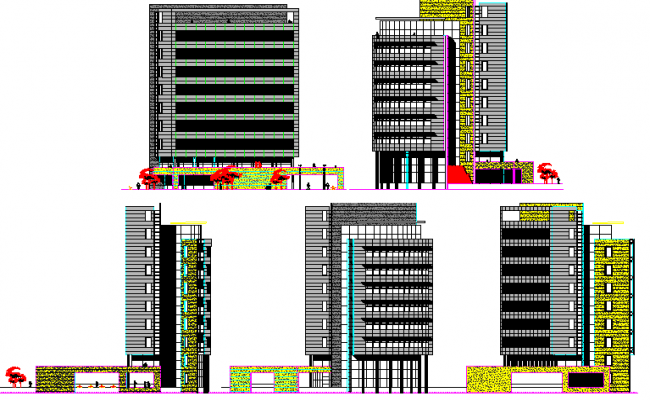 All sided elevation view details of multi-level corporate building dwg file