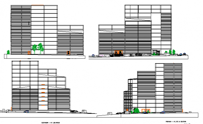 All sided elevation view details of multi-level shopping mall dwg file