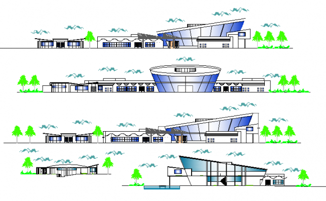 All sided elevation view of city council building dwg file