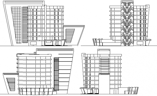 All sided elevation view of multi story government building dwg file