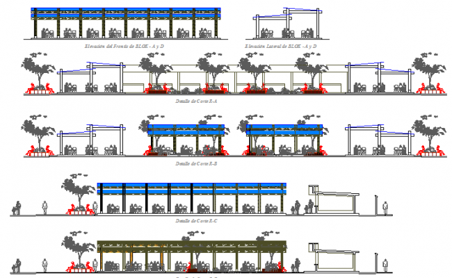 All sided sectional details of cafeteria of shopping center dwg file