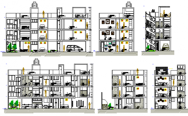 All sided sectional details of multi-level housing building dwg file