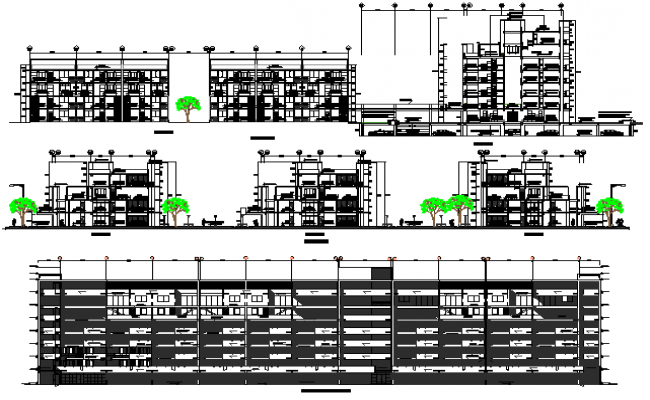 All sided sectional view details of multi-flooring residential apartment dwg file