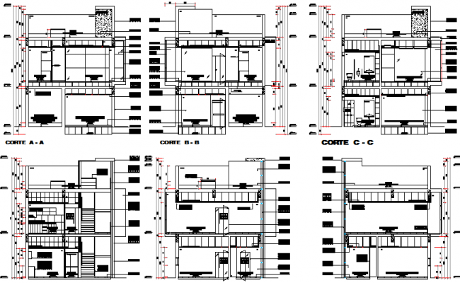 All sided sectional view details of multi-story office building dwg file
