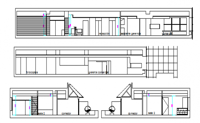 All sided sectional view of amplification corporate office dwg file