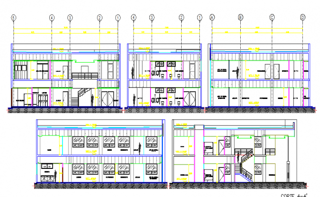 All sided sectional view of government customer service center dwg file