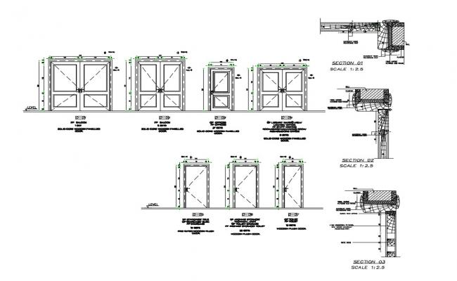 Aluminium doors section and installation cad drawing details dwg file