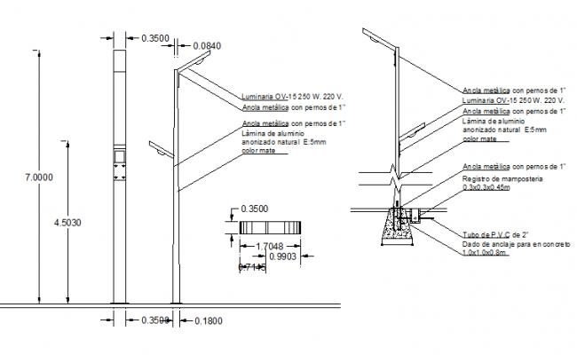 Aluminium light pole installation details dwg file