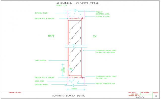 Aluminum louvers details dwg