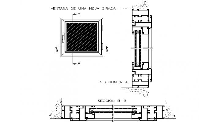 Aluminum window detail dwg file