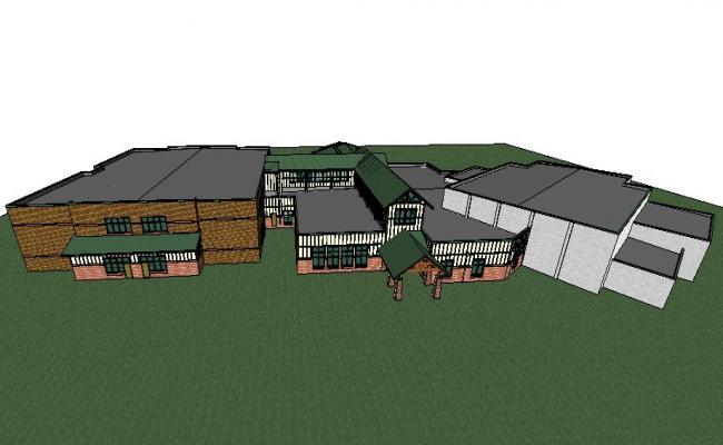Amboy higher secondary school building 3d drawing details skp file