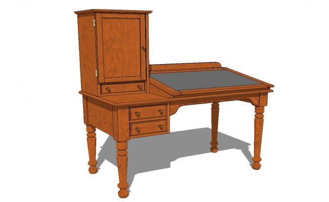 American Walnut Plantation Desk 3d drawing details skp file