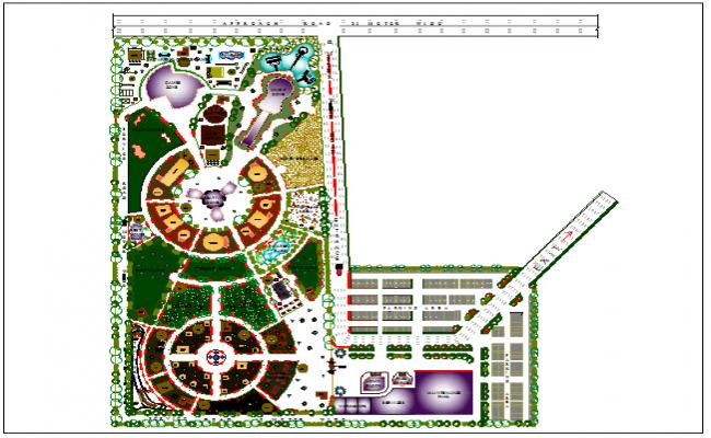 Amusement park dwg, Amusement park of city landscaping details dwg file