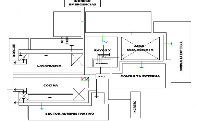 Analysis Functional Plan of Hospital dwg file