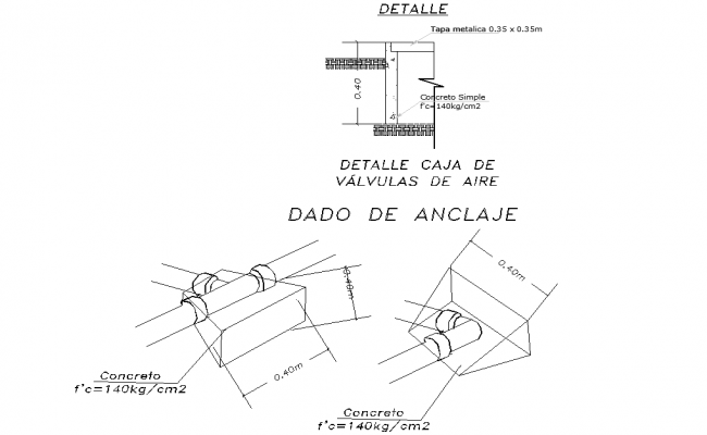 Anchoring and air valve box detail dwg file