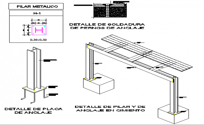 Anchors and pillar detail model of house dwg file