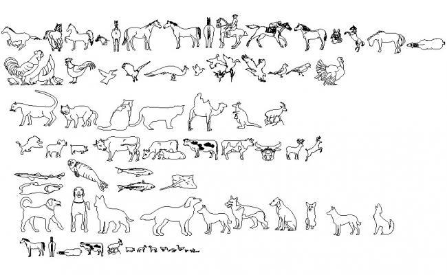 Animal and bird blocks design CAD block dwg file
