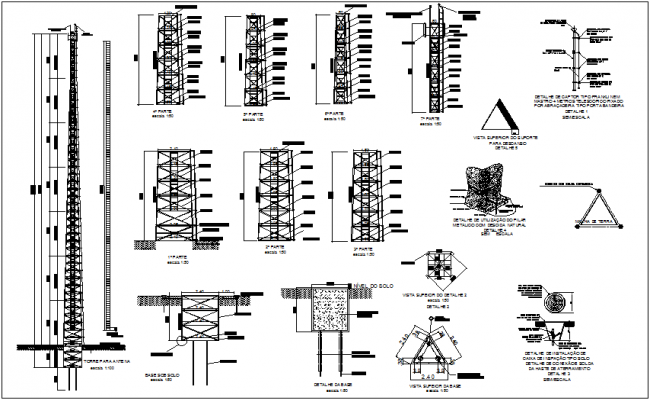 Antenna tower structural view for size 42 meter dwg file
