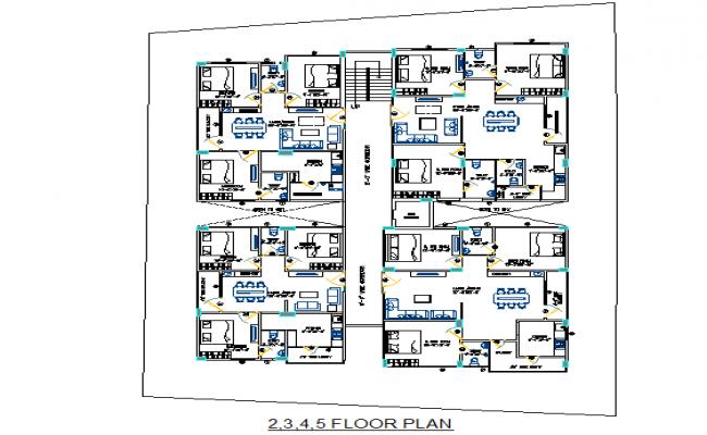 Apartment 2,3,4,5 floor plan detail dwg file
