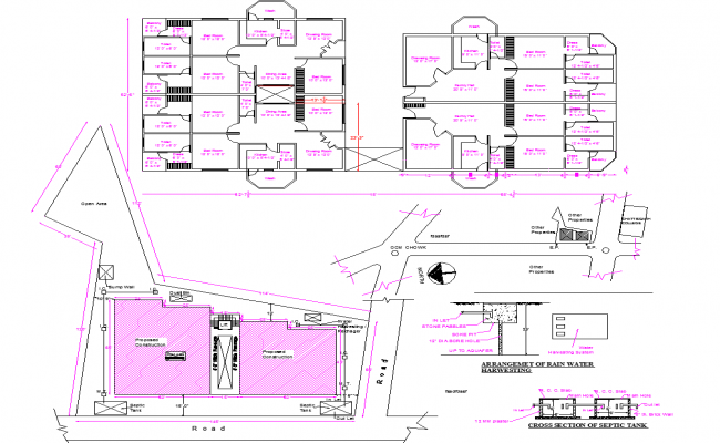 Apartment 2 block Layout plan dwg file