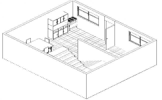 Apartment 3 d house plan detail dwg file