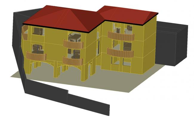 Apartment 3 levels 3 d autocad file