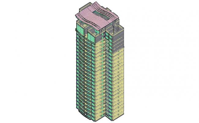 Apartment 3D Modern Elevation In AutoCAD File