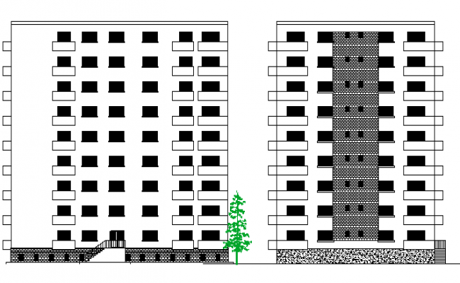 Apartment Building Architecture Layout and Elevation dwg file