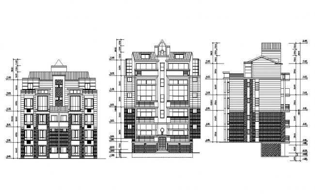 Apartment Building Elevation Drawing DWG File