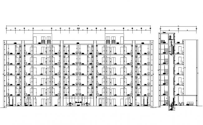 Apartment Building Section Drawing Free DWG File