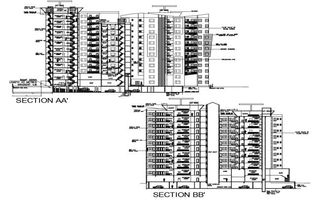 Apartment Building Section Plan