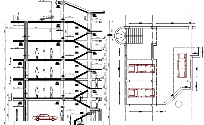Apartment building and office section details dwg file for Office design dwg