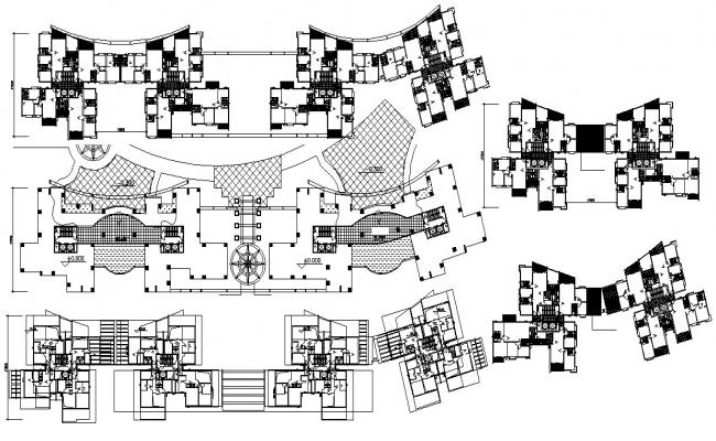Apartment Cluster Plan Dwg File