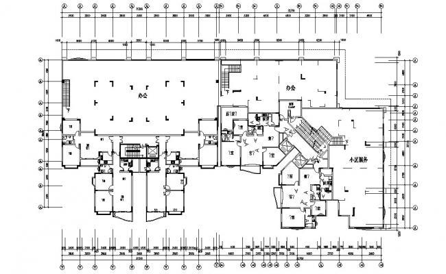 Apartment Column Layout Plan DWG File