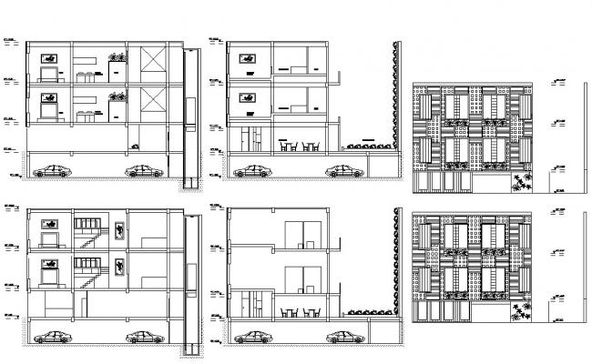 Apartment Design 2d Elevation and Section CAD Drawing