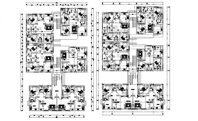 Apartment Furniture Layout Plan AutoCAD File
