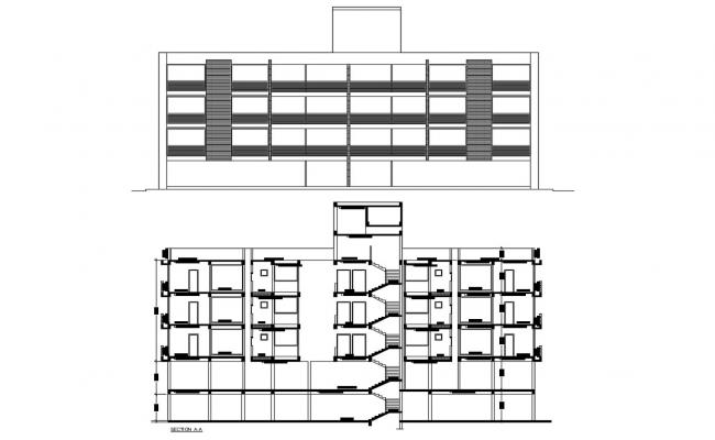 Apartment Elevation and Section CAD Architecture Drawing