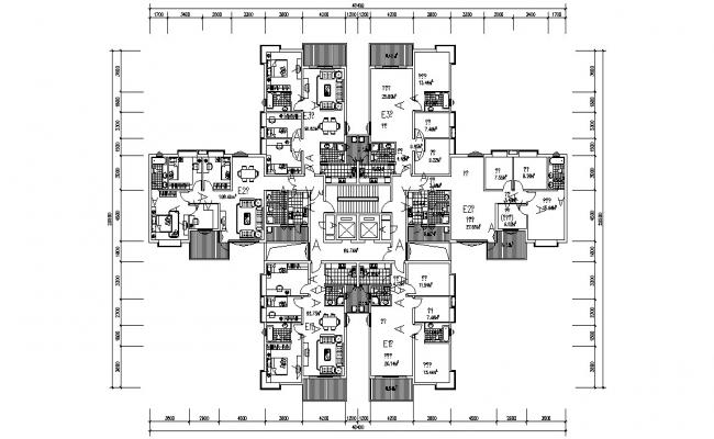 Apartment Floor Plans With Working Set AutoCAD File