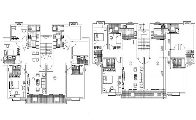 Apartment Furniture Layout CAD Plan