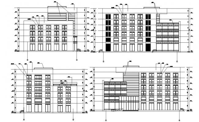 Apartment House Elevation Design DWG File